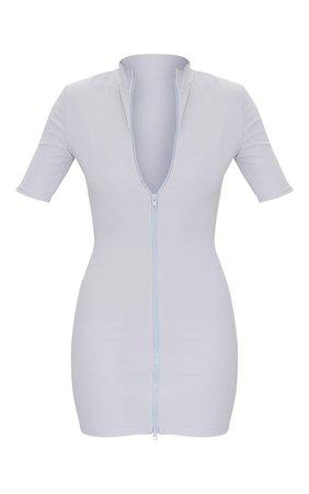 Grey Zip Front Rib Short Sleeve Bodycon Dress | PrettyLittleThing USA