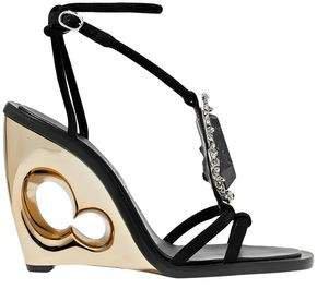 Embellished Suede Wedge Sandals