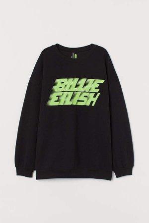 Sweatshirt with Graphic Print - Black