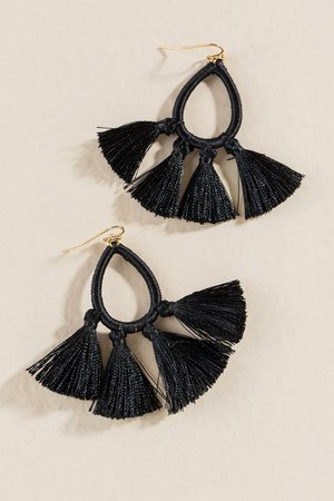 Matilda Tassel Teardrop Earrings In Black | francesca's