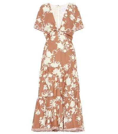 Tea House cotton-blend midi dress