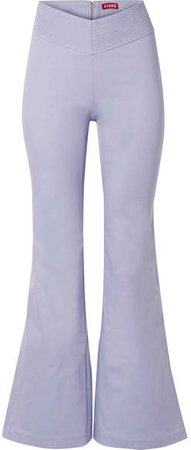 STAUD - Cher Stretch-cotton Flared Pants - Lilac