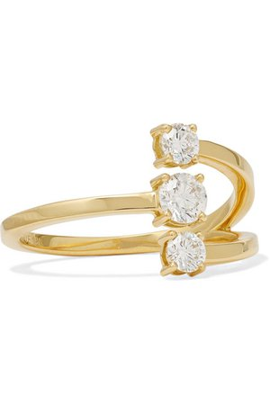 Melissa Kaye | Aria Moon small 18-karat gold diamond ring | NET-A-PORTER.COM