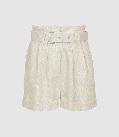 Romy Neutral Textured Linen Shorts – REISS
