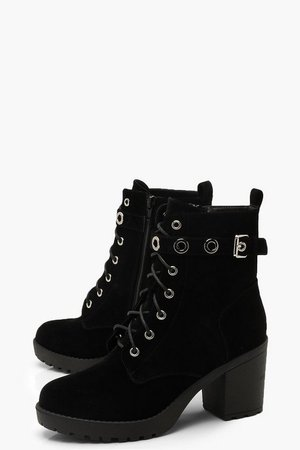 Lace Up Hiker Boots With Eyelets | boohoo