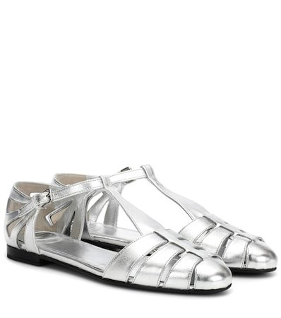 Rainbow leather ballet flats
