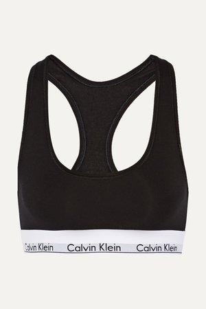 Black Modern Cotton stretch cotton-blend soft-cup bra | Calvin Klein Underwear | NET-A-PORTER
