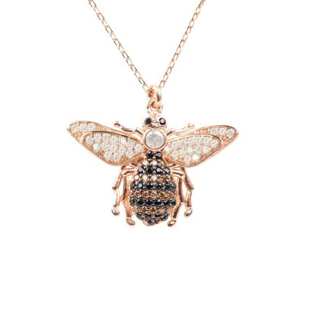 Honey Bee Pendant Necklace Rosegold | Latelita | Wolf & Badger
