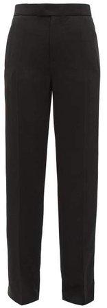 Ferry Wide Leg Tuxedo Twill Trousers - Womens - Black