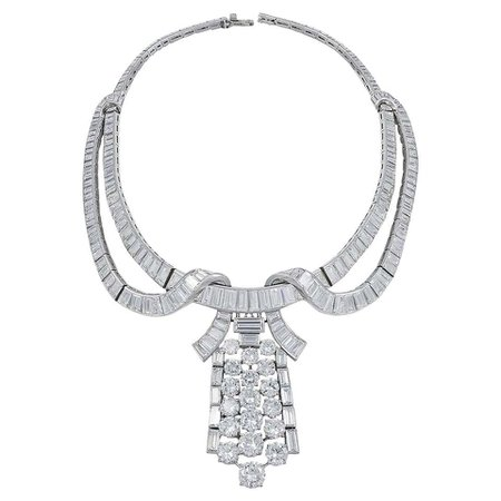Boucheron Diamond Necklace And Brooch For Sale at 1stDibs