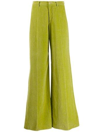 Green Forte Forte Foglia Flared Velvet Trousers | Farfetch.com