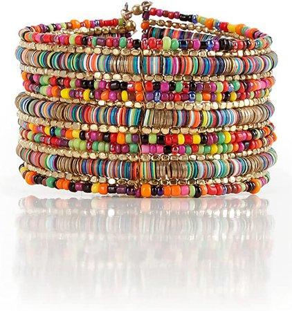 Amazon.com: SPUNKYsoul Bohemian Multi-Colored Sequin Gold Cuff Bracelet Collection: Jewelry