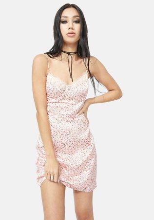 Satin Floral Lace Up Mini Dress - Pink | Dolls Kill