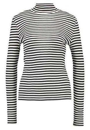 Vero Moda VMVITA STRIPE HIGH NECK - Long sleeved top - black/white - Zalando.co.uk