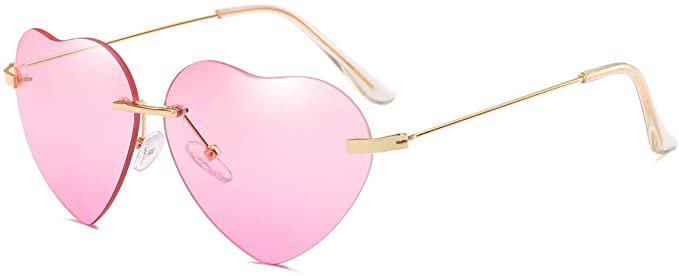 Amazon.com: Dollger Pink Heart Sunglasses Women Rimless Sunglasses Thin Metal Frame Sunglasses: Clothing