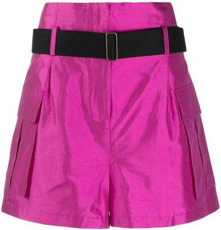 Erika Cavallini High-Waisted Silk Cargo Shorts