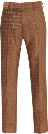 Amiri Velvet Grid Jacquard Cropped Skinny Pants