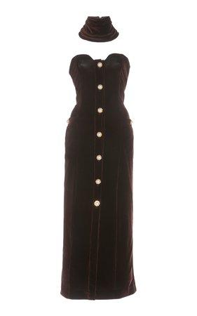 Rowen Rose Strapless Bustier Velvet Dress