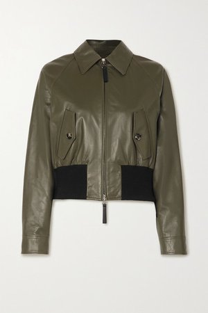 Leather And Cotton-blend Bomber Jacket - Army green