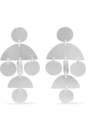 Annie Costello Brown | Mini Pompom silver earrings | NET-A-PORTER.COM
