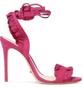 Ruffled Suede And Nubuck Sandals