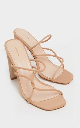 Nude Flat Heel Tube Strappy Mule Sandal | PrettyLittleThing