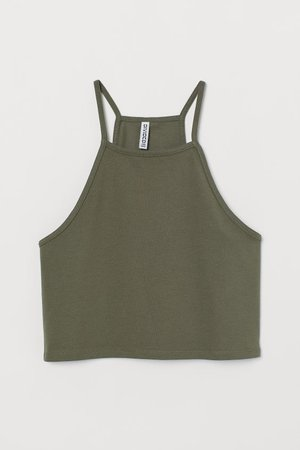 Short Camisole Top - Khaki green - | H&M US