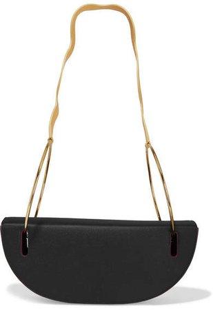 Elba Textured-leather Shoulder Bag - Black