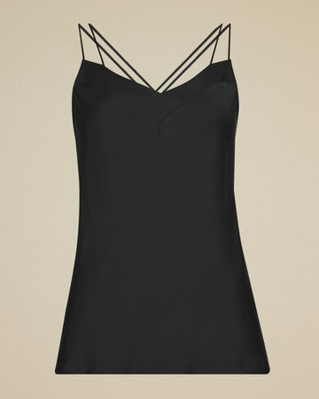Skinny strap cami - Black | Tops and T-shirts | Ted Baker UK