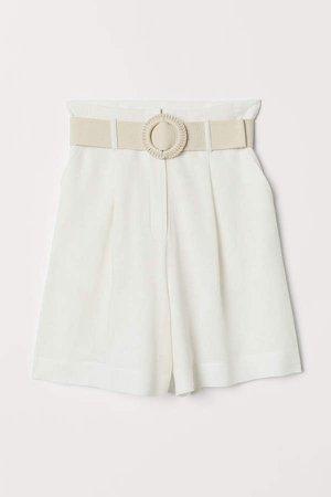 Linen-blend Shorts - White