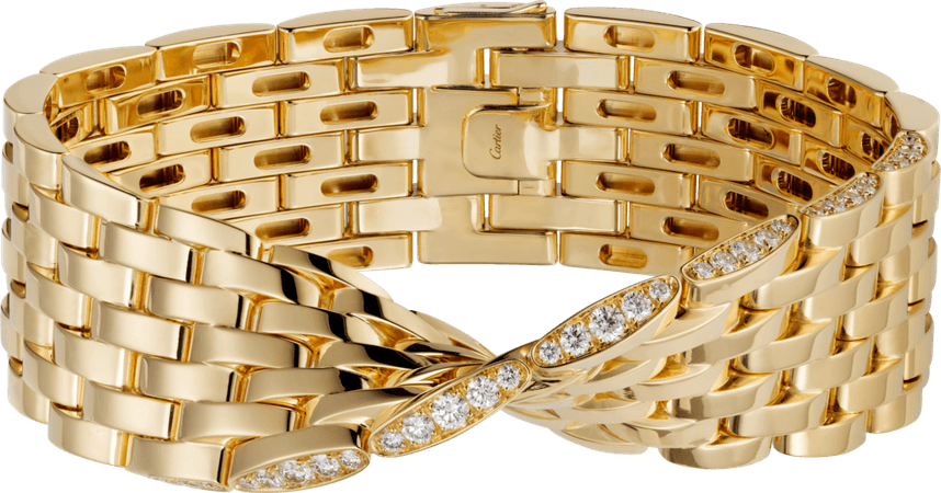 CRN6705517 - Maillon Panthère bracelet, 7 rows - Yellow gold, diamonds - Cartier
