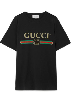 Gucci | Oversized distressed printed cotton-jersey T-shirt | NET-A-PORTER.COM