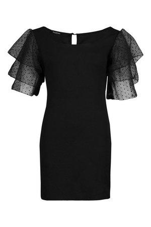 Organza Sleeve Bodycon Dress black