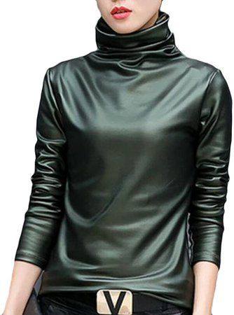 Gnao Women Slim Turtleneck Faux Leather Long Sleeve Blouse Top Shirt at Amazon Women's Clothing store