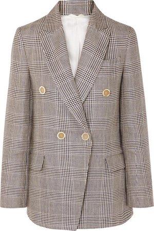 Brunello Cucinelli | Double-breasted checked linen blazer | NET-A-PORTER.COM