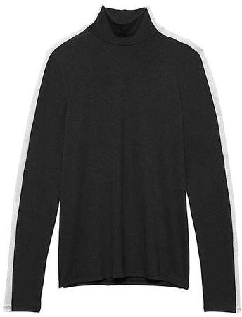 Threadsoft Color-Blocked Turtleneck T-Shirt