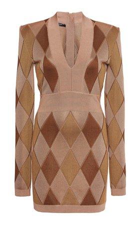 Argyle Intarsia-Knit Mini Dress by Balmain | Moda Operandi