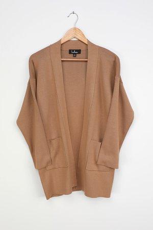 Tan Cardigan - Knit Cardigan Sweater - Lounge Cardigan Sweater - Lulus
