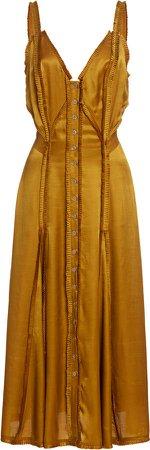 Temperley London Lily Ruffled Satin Midi Dress