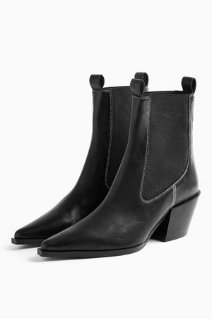 MYSTERY Black Leather Western Boots | Topshop