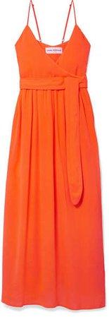 Alma Wrap-effect Crepon Midi Dress - Orange