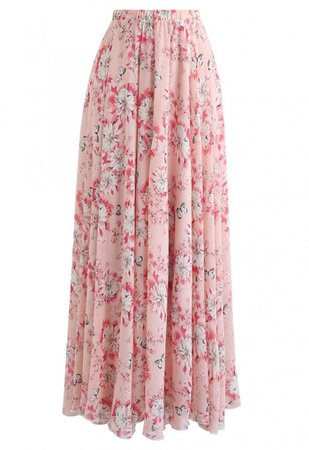Butterfly and Floral Print Chiffon Maxi Skirt in Pink - Skirt - BOTTOMS - Retro, Indie and Unique Fashion