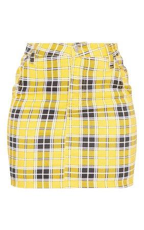 Yellow Checked Denim Skirt - Skirts & Shorts - New In   PrettyLittleThing