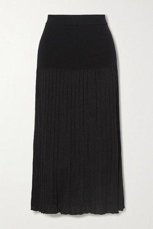 Dean Pleated Stretch-knit Midi Skirt - Black
