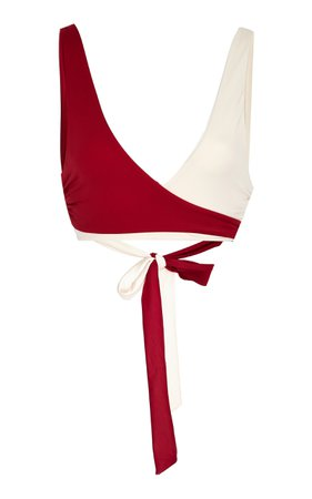 Tori Praver Joy Two-Tone Wrap Bikini Top