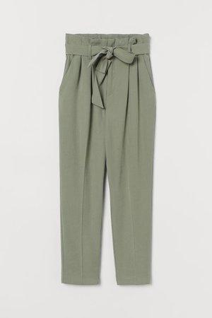 Paper-bag Pants - Sage green - Ladies   H&M US