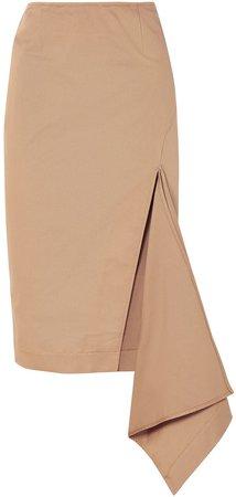 Asymmetric Cotton-blend Gabardine Skirt