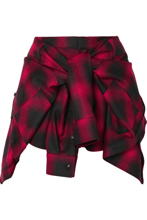 Alexander Wang Tie-Front Checked Wool-Flannel Shorts In Red | ModeSens