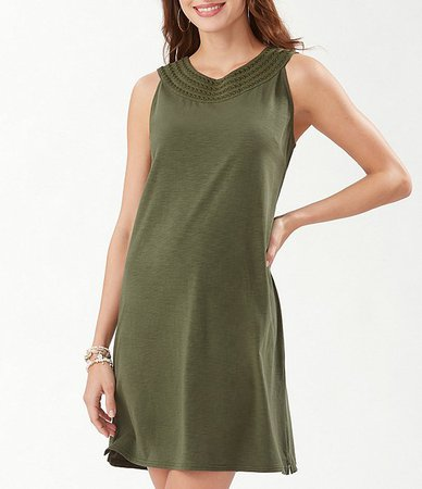 Tommy Bahama Pearl Embroidered Sleeveless Cotton Blend Shift Dress | Dillard's