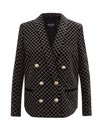 Glitter-grid Double-breasted Velvet Blazer